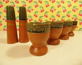 Mid Century Wood Breakfast Set -  Egg Cups - Salt Pepper Shakers -  JC Penney Co
