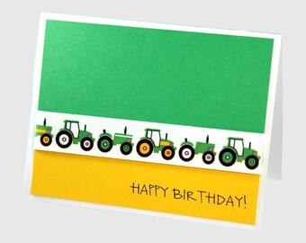 Boy birthday card, tractor birthday card