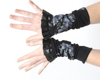 Black ruffled cuffs, Black and grey floral cuffs, Black wrist warmers, Gift for her, Womens accessories, MALAM