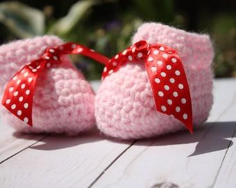 Red Bow Pink Baby Booties - Polka Dot Pink Booties - Pink Crochet Booties