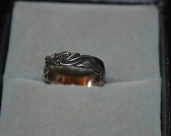 Vintage Sterling Silver Earthy Style Carved Band Ring