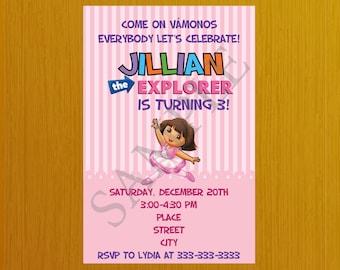 Dora the Explorer Invitation, Dora the Explorer Birthday, Dora the Explorer Invites, Dora the Explorer Party, Printable, Ballerina