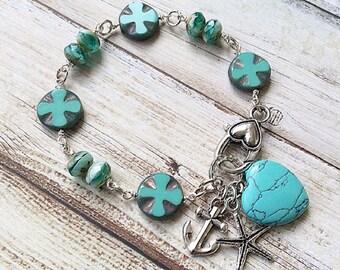 Beach boho bracelet, Beaded bracelet, Charm bracelet turquoise and silver charms handmade by rubybluejewels