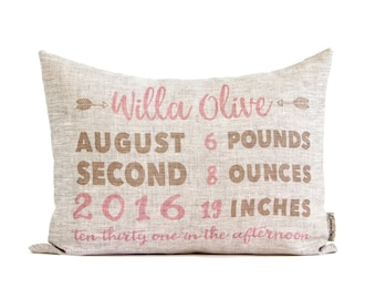Customized Birth Announcement Pillow, New Mom Gift, New Parents, Personalized Baby Gift, Rustic Linen, Nursery Decor, Newborn Gift