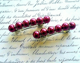 Set of  Two Magenta Glass Pearl Hair Barrettes, Pearl Hair Barrette, Glass Pearl beaded Barrette, Handcrafted Bar