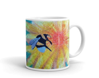 Busy Bee Mug - bee gift - bee lover - save the bees - yellow mug - embroidered bee