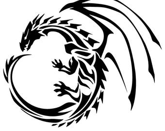 Tribal Dragon Stencil handcut
