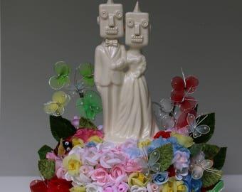 Robot Wedding Cake Topper  handmade ceramic