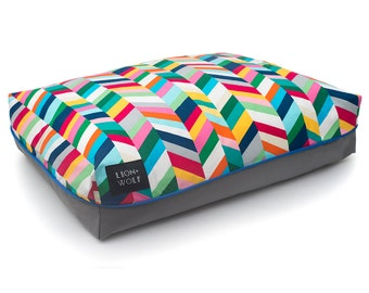 Chevron Dog Bed COVER – Technicolor | Pet Bed Duvet Cover - Insert Not Included | Modern Dog Bedding | Cat Bed Cover | Washable + Durable