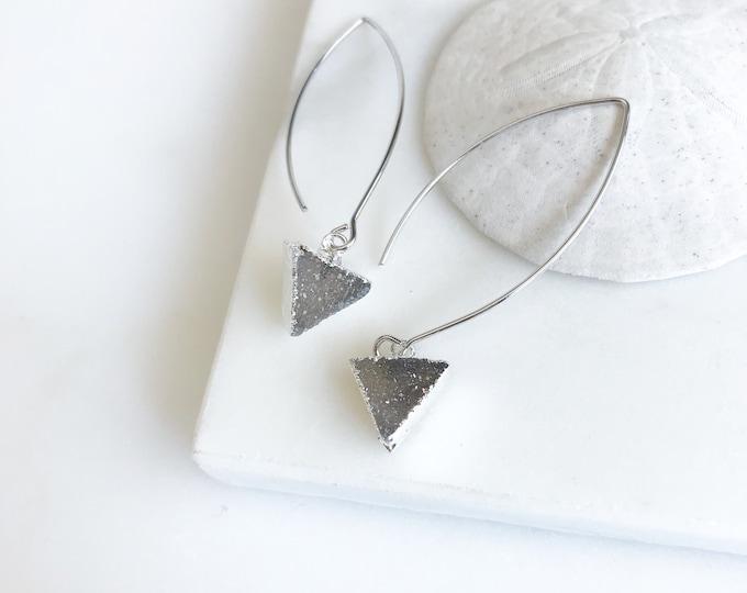 Druzy Triangle Hoop Earrings in Silver. Grey Tone Triangle Druzy Dangles. Silver Druzy Earrings. Dangle Earrings. Jewelry. Gift.