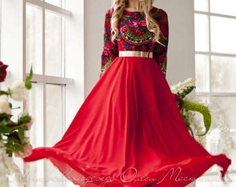 "Bright red dress ""Matrena light"" in the Russian style, with pavlogoradsky scarf and flying skirt. Maxi dress"