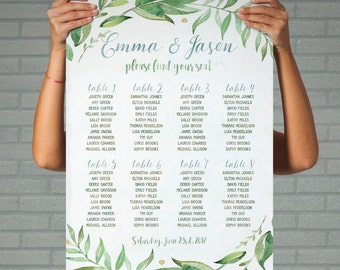 green wedding seating chart wedding table plan printable wedding greenery wedding seating arrangements leafy wreath personalized seating