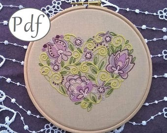 Traditional  Embroidery Pattern PDF - spring pdf pattern - hand embroidery pdf - embroidery hoop art - Coeur tendre - Embroidery pattern