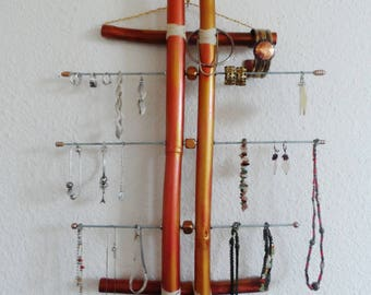 copper painted bamboo wall Organizer, gold and bronze