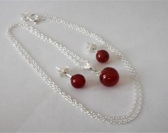 """Sterling Silver Carnelian Pendant and Earring Set 18"""" Chain."""