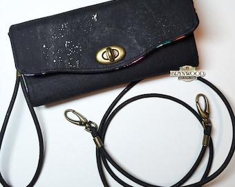 Black Cork Bryn Crossbody Clutch Wallet, Brynwood Bryn Wallet, Cork Fabric Wallet, Cross Body Wallet, Colorful Fish Fabric