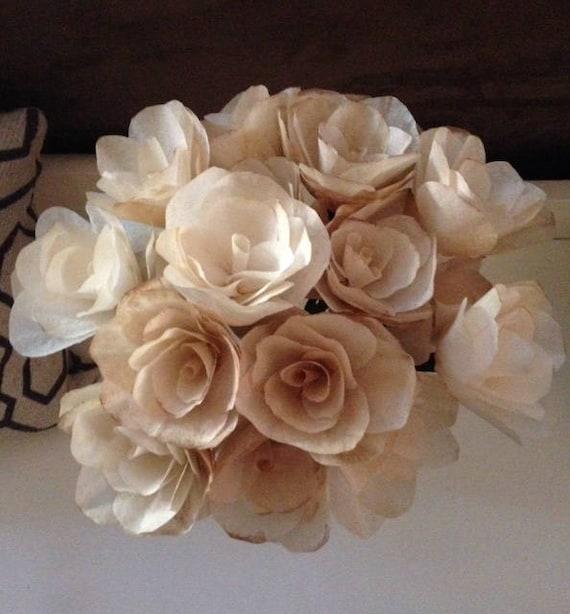 Vintage Paper Roses / Paper Flowers / Coffee Filter Flowers /