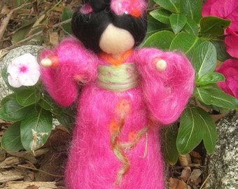 Geisha Fairy - Made to order- Standing Wool needle felted fairy soft sculpture- Waldorf-inspired