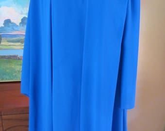 Ursula Switzerland Periwinkle blue formal dress. Attached sheer tunic cape coat. Beaded Shoulders High ruched neckline. 8-10 petite