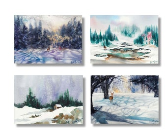 "Watercolor Postcard - Art Postcard - Holiday Cards - Watercolor Snow - Landscape Painting - Modern Postcard - Postcard Set ""In the Snow"""