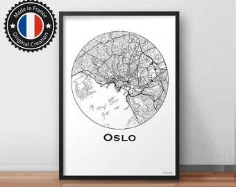 Poster Oslo Norway Minimalist Map - City Map, Street Map