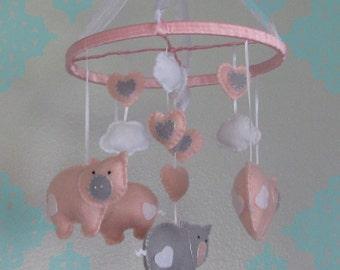 Felt Pig Baby Mobile- Pink & Grey Pig Baby Mobile