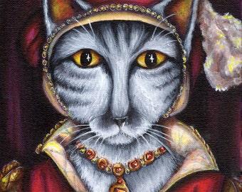 Silver Tabby Cat, Catherine Parr Tudor Queen, King Henry VIII 8x10 Art Print