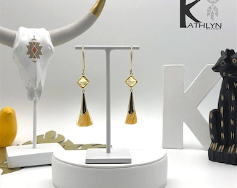 Earrings golden yellow tassels and gold