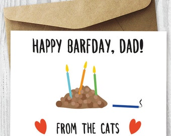 Funny Printable Birthday Card from The Cats, Cat Barfday Printable Card Download, Gross Printable Birthday Card for Him, Card For Husband