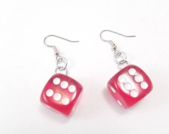 Translucent Red Dice Earrings- Casino Jewelry, Casino Dice Jewelry, Board Game Earrings, Geeky gifts, Nerdy, Board Game Geek