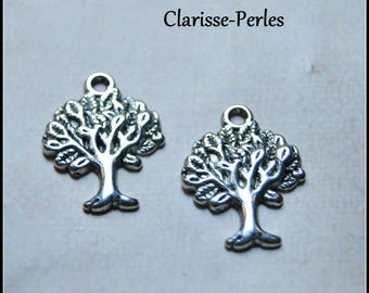 4 charms tree silver-plated 17x22mm hole 2mm
