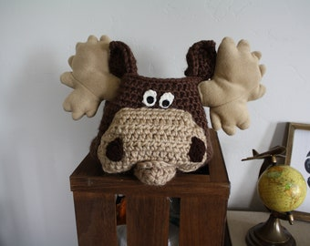 Moose Basket - Woodland Moose Nursery Decor - Crochet Moose Bin - Nursery Storage - Moose Home Organizer - by JoJo's Bootique