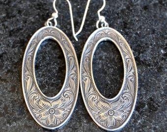 Rockin Out Jewelry - Jasmine Earring - Sterling Silver Dangle Earring - Women's Jewelry - Western Style Engraved