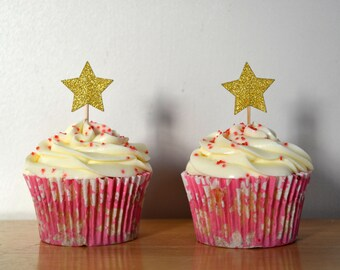 Gold Star Cupcake Topper/ Star Cake Toppers/ Pack of 6/ Christmas Cake Topper/ Xmas Star Topper