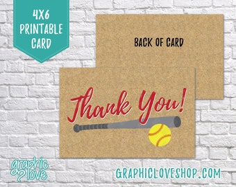 Printable 4x6 Fastpitch Softball Thank You Card - Folded or Postcard | Digital JPG Files, Instant Download, NOT Editable, Ready to Print
