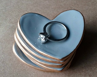 FIVE  Ceramic Heart ring bowls Ring Dishes Ring Holders Shower favors itty bittys Gray edged in gold