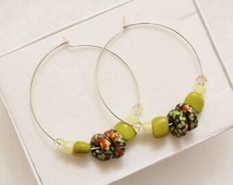 African Bead Earrings, Sterling Silver Beaded Hoop Earrings