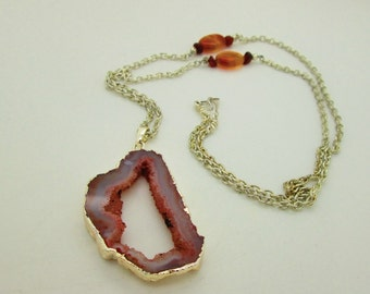 Long Agate Slice Druzy Necklace, Coral Peach Agate Necklace, Agate Pendant Necklace