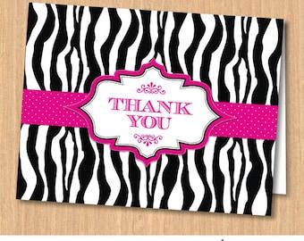 Zebra Print Pink Ribbon Printable Thank You Card, Instant Download JPG (not editable)
