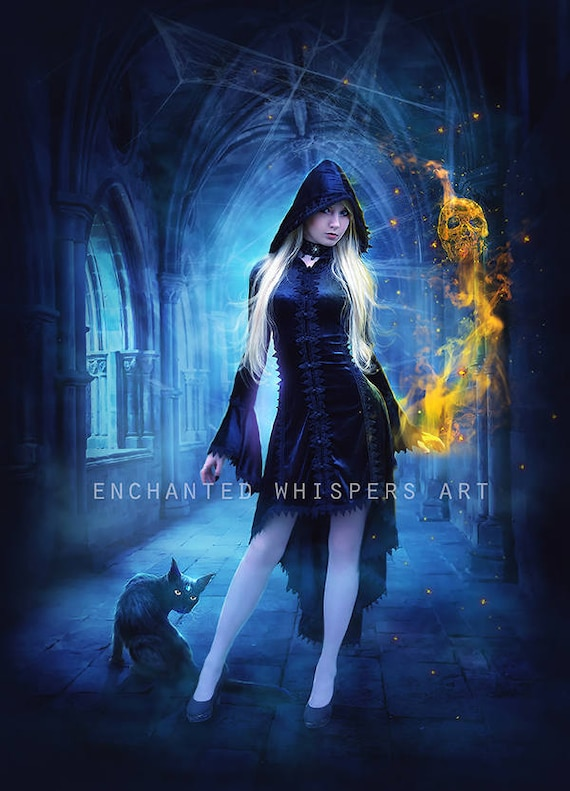 Gothic fantasy Halloween Witch with black cat art print