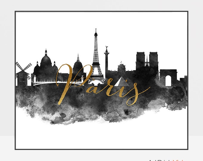 Black and white Paris skyline art, watercolor print, Paris skyline, Travel, gift, Wall art, poster, faux gold, France, ArtPrintsVicky