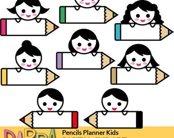 Planner clipart / back to school clip art, kids holding pencils clipart, commercial use graphics, cute characters, commercial use