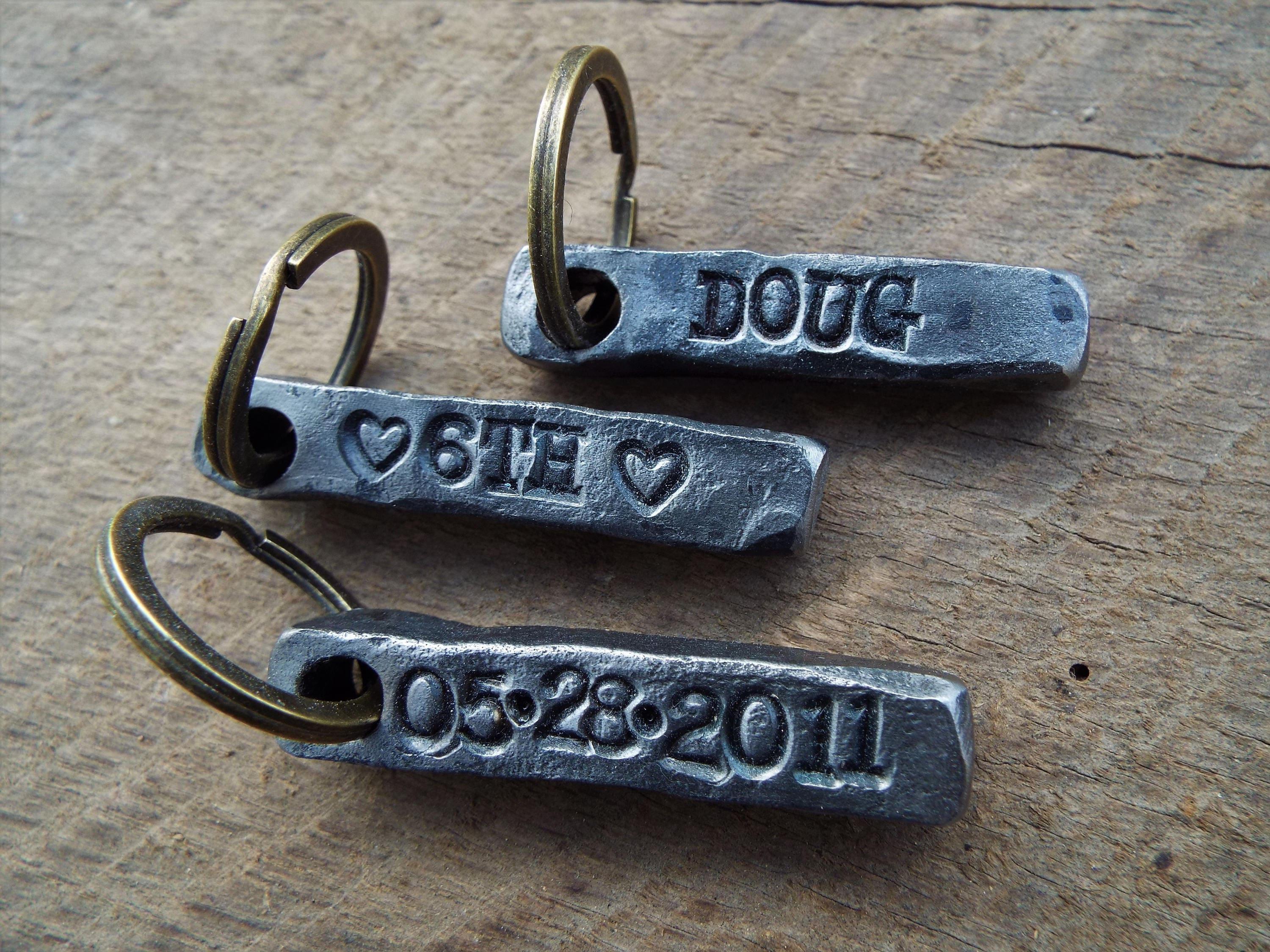 6th Year Wedding Anniversary Gifts For Him: Custom Key Chain. Iron Anniversary Gift 6th Anniversary