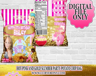 Pink and Gold Slumber Party Potato Chip Bag Party Favor