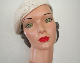Hand Knit Beret Classic French Vintage 1930s Style Cotton Ready to ship