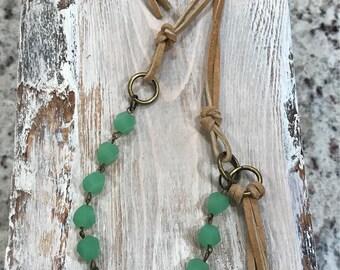 Green beads, leather necklace, western glam, southwestern jewelry, boho, bohemian jewelry
