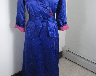 1950s  Satin Quilted  Robe ....... Royal Blue Meets Hot Pink!     size Small/Medium