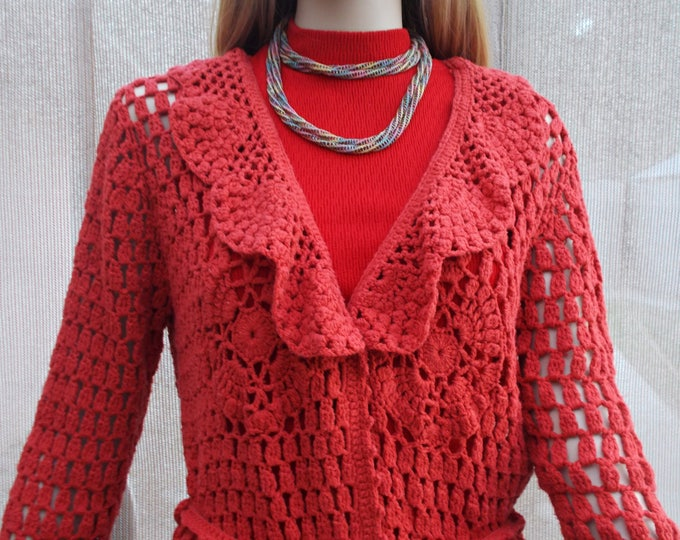 Vintage 90s Ivy Jane Red Acrylic Blend Crochet Hippie Chic Womens Long Sleeve Cardigan Sweater & Belt Size L