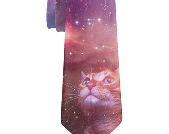 Galaxy Cat All Over Neck Tie