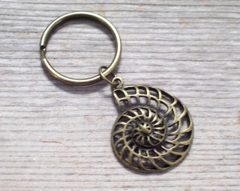 Antiqued Brass Seashell Keychain, Nautilus Shell Key Chain, Bronze Nautical Key Ring